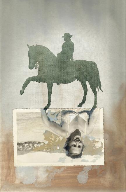 Border, di Luigi Massari e Patrizia Emma Scialpi, acrilico e collage, 30x40cm