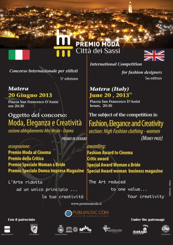 Locandina definitiva Premio  Moda Città dei Sassi 2013