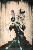 Camille-Rose-Garcia-the-animals-talk-at-midnight_41x61_acrylic-and-glitter-on-paper-mounted-on-board